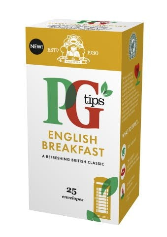 PG tips English Breakfast Tea 25 Enveloped Bags -