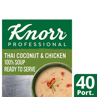 Knorr Professional 100% Soup Thai Coconut & Chicken 4 x 2.5kg - Delight your customers with new Asian style Knorr 100% Soups.