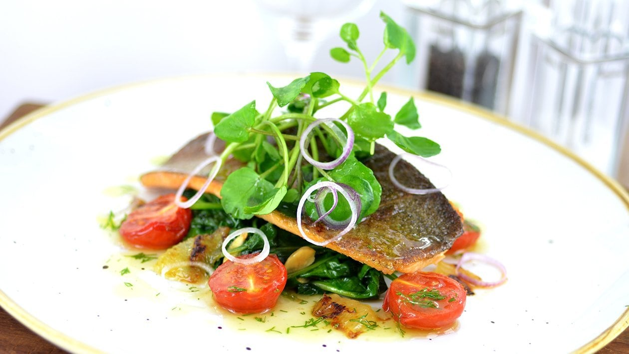Pan fried trout with almonds, spinach & confit tomatoes (variation) – recipe