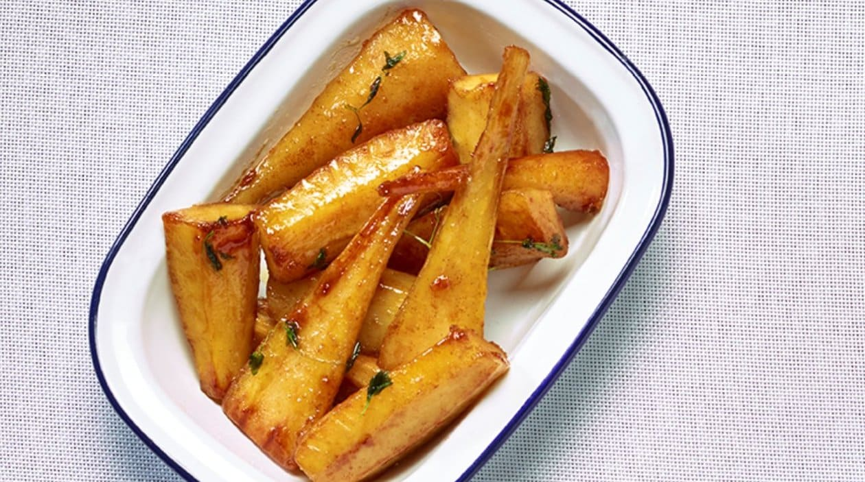 Honey roasted Parsnip and Parsley root – recipe